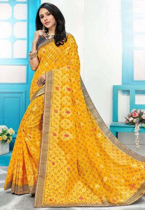 Woven Art Silk Saree in Mustard