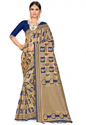 Woven Art Silk Saree in Navy Blue and Golden