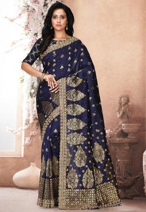 Woven Art Silk Saree in Navy Blue