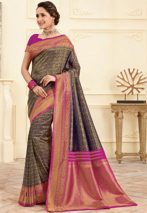 Woven Art Silk Saree in Navy Blue