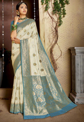 Woven Art Silk Saree in Off White and Blue