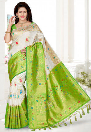 Woven Art Silk Saree in Off White and Green
