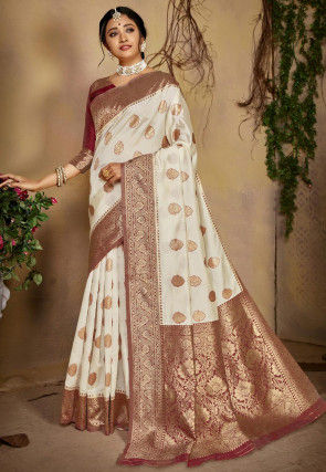 Woven Art Silk Saree in Off White and Maroon