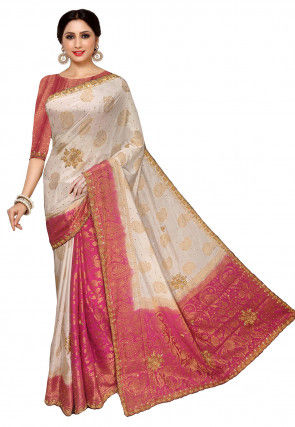 Woven Art Silk Saree in Off White and Pink