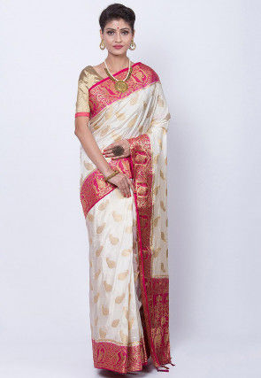 Woven Art Silk Saree in Off White
