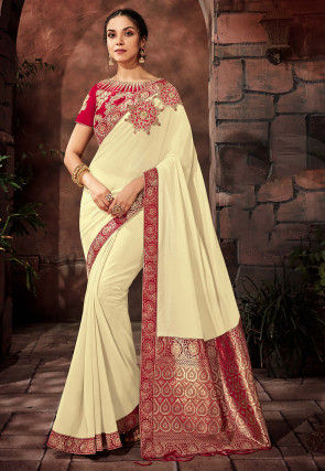 Woven Art Silk Saree in Off White