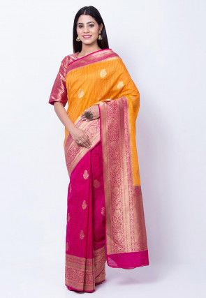 Woven Art Silk Saree in Orange and Fuchsia