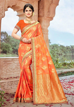 Woven Art Silk Saree in Orange