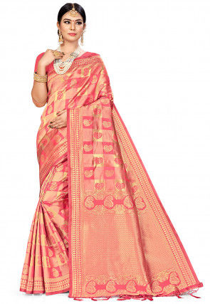 Woven Art Silk Saree in Peach and Golden