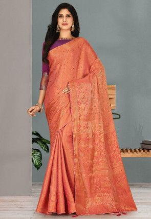 Woven Art Silk Saree in Peach