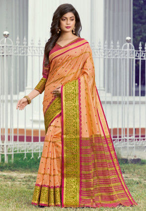 Woven Art Silk Saree in Peach