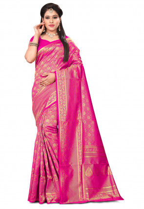 Woven Art Silk Saree in Pink and Golden
