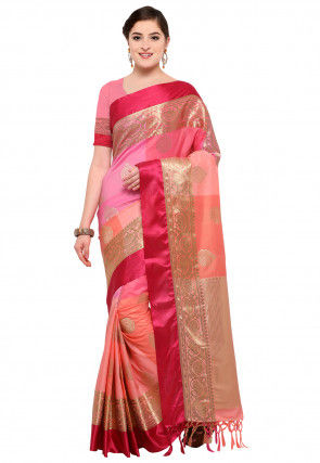 Woven Art Silk Saree in Pink and Peach
