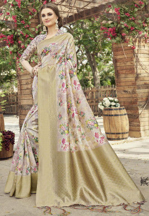 Woven Art Silk Saree in Pink