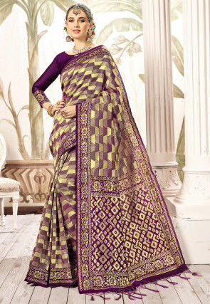 Woven Art Silk Saree in Purple