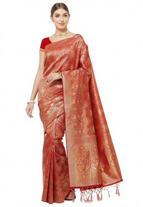 Woven Art Silk Saree in Red and Golden