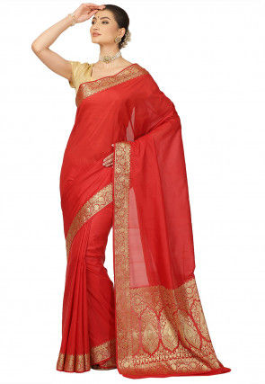 Woven Art Silk Saree in Red