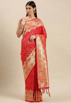 Woven Art Silk Saree in Red