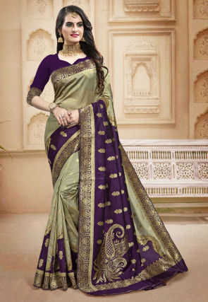 Woven Art Silk Saree in Shaded Beige and Purple