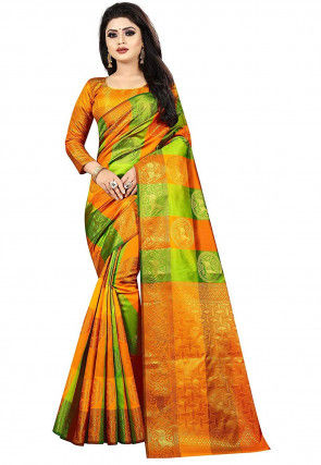 Woven Art Silk Saree in Shaded Orange and Light Green