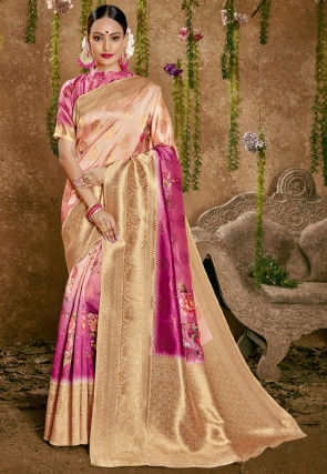 Woven Art Silk Saree in Shaded Peach and Pink