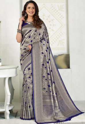 Woven Art Silk Saree in Silver and Navy Blue