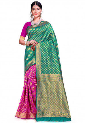 Woven Art Silk Saree in Teal Blue and Fuchsia