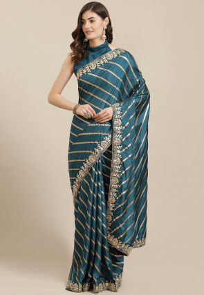 Woven Art Silk Saree in Teal Blue