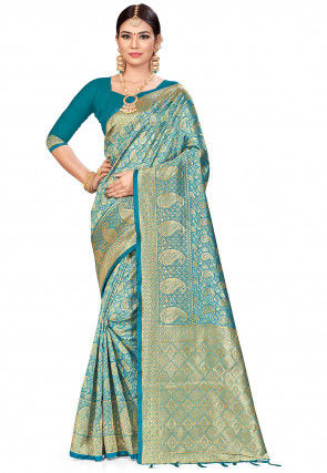 Woven Art Silk Saree in Teal Blue