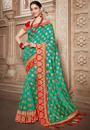 Woven Art Silk Saree in Teal Green