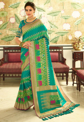 Woven Art Silk Saree in Turquoise