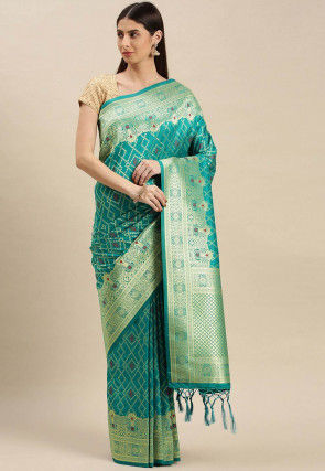 Woven Art Silk Saree in Turquoise