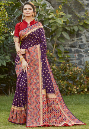 Woven Art Silk Saree in Violet