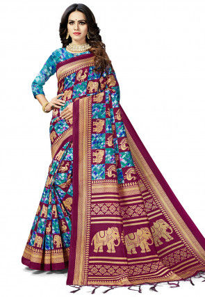 Woven Art Silk Saree in Wine and Blue