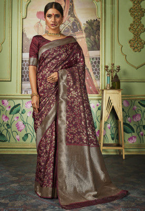 Woven Art Silk Saree in Wine