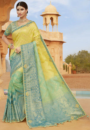 Woven Art Silk Saree in Yellow and Blue