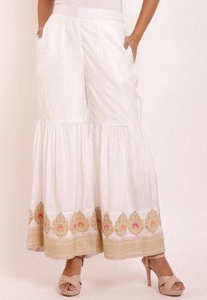 Woven Art Silk Sharara in Off White