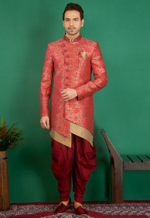 Woven Art Silk Sherwani in Coral Pink and Beige