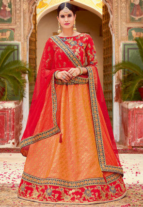 Woven Art Silk Silk Jacquard Lehenga in Peach