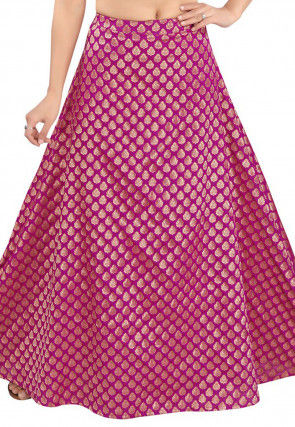Woven Art Silk Skirt in Purple