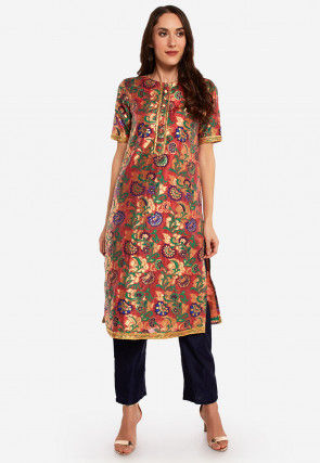 Woven Art Silk Straight Kurta in Multicolor