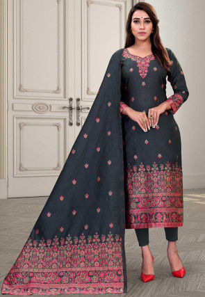 Woven Art Silk Straight Suit in Black