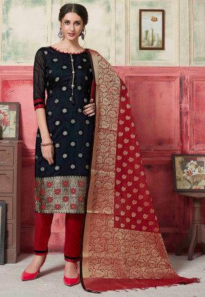 Woven Art Silk Pakistani Suit in Black