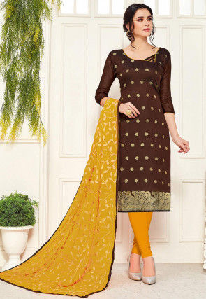 Woven Art Silk Straight Suit in Brown