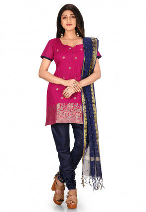 Woven Art Silk Straight Suit in Fuchsia