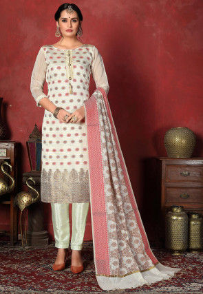 Woven  Art Silk Straight Suit in Off White