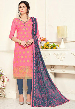 Woven Art Silk Straight Suit in Pink