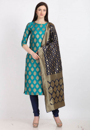 Woven Art Silk Straight Suit in Teal Blue