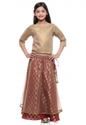 Woven Art Silk Top With Skirt in Beige and Red