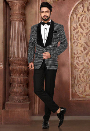 Woven Art Silk Tuxedo in Black and White